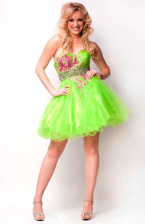 Lime Green Sweetheart Tulle Floral Embroidered Cocktail Dress