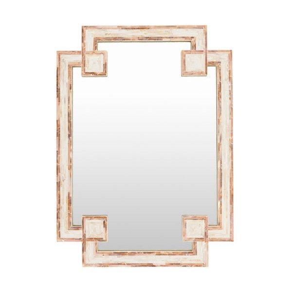 Surya Banks Ivory And Beige Mirror ($260) Liked On
