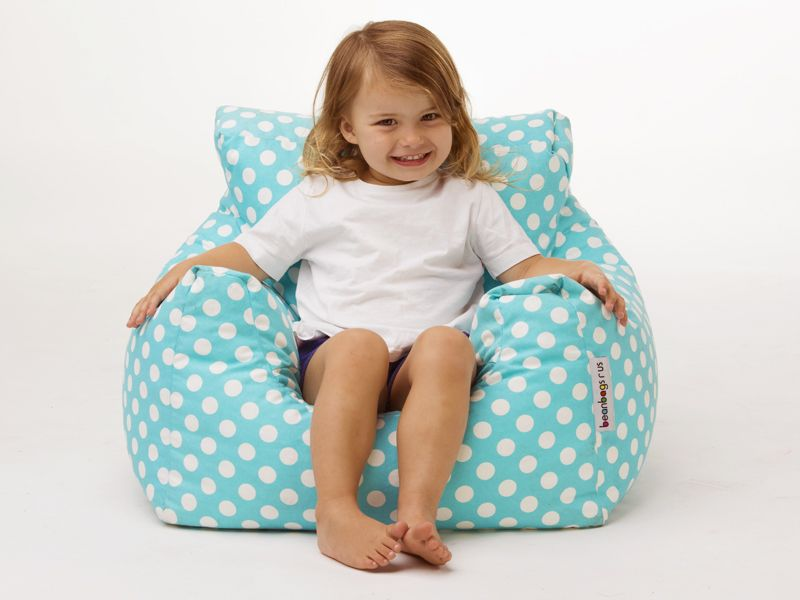 Available in Aqua and Red, these cute kids bean bag chairs are made