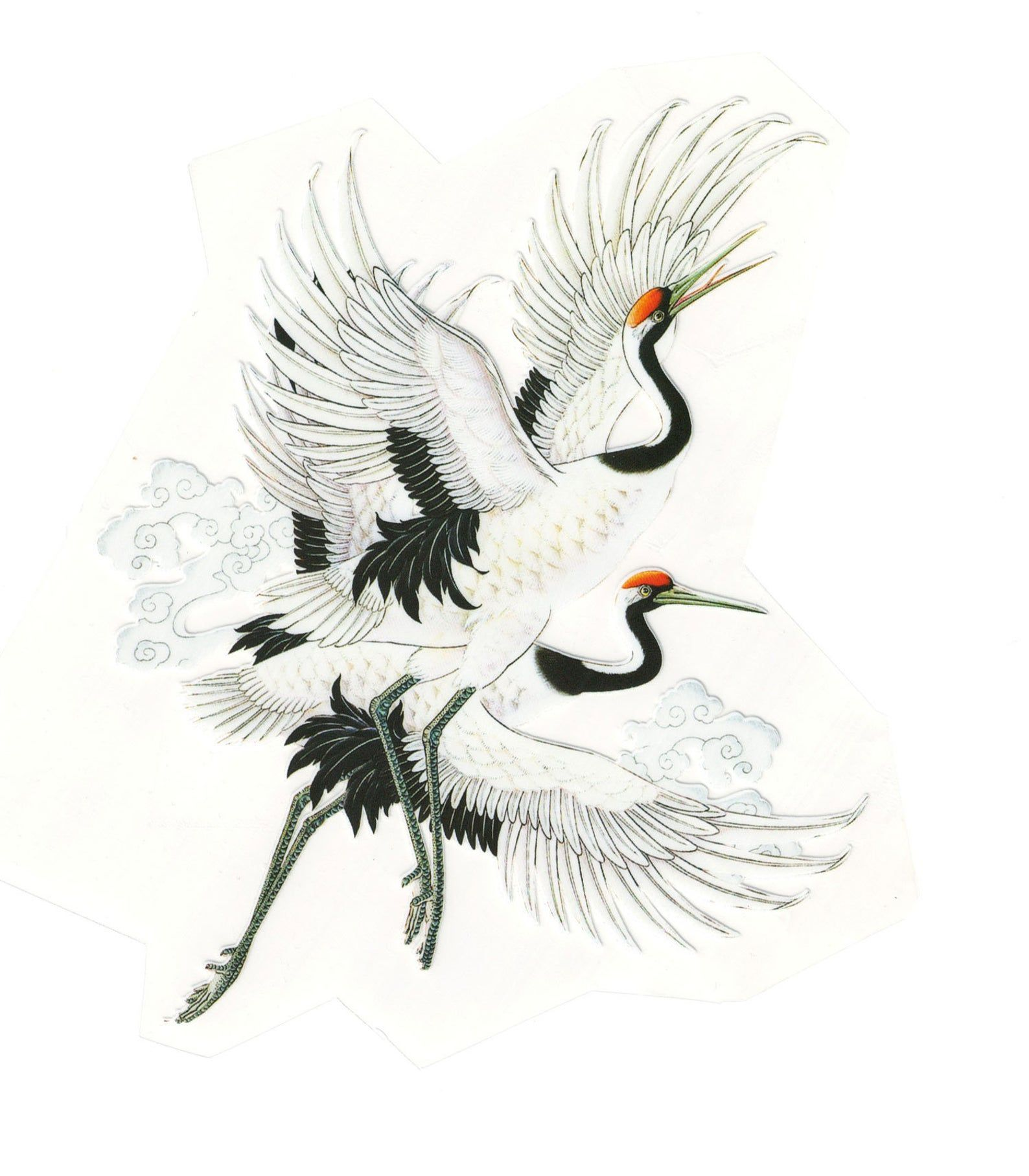 Big Cranes In Flight Iron On Thermal Shirt Patch Transfer Etsy In 2020 Japanese Tattoo Crane Tattoo Animal Art