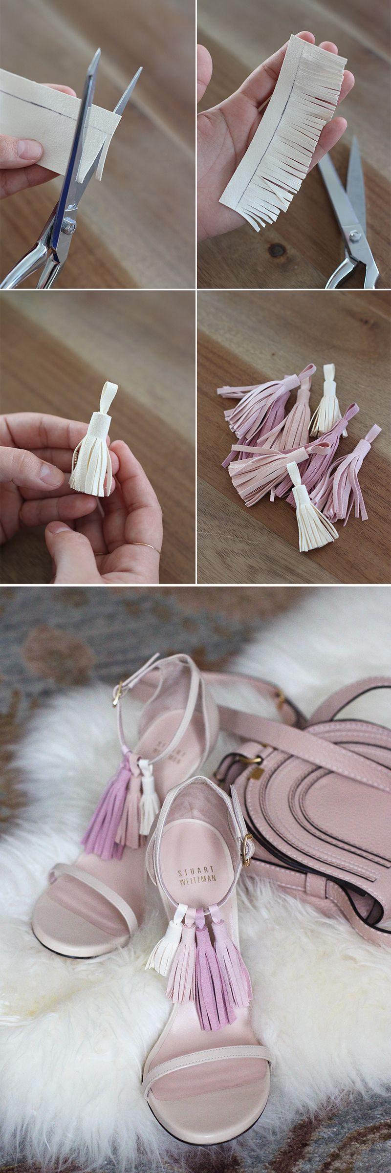 Adorn strappy sandals with interchangeable tassels. DIY Tassel Sandals.