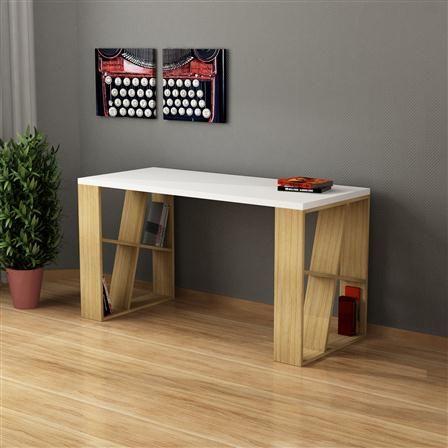 Honey Working Table, White/Oak
