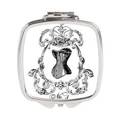 Black and white vintage corset square compact mirror by VoxVintage