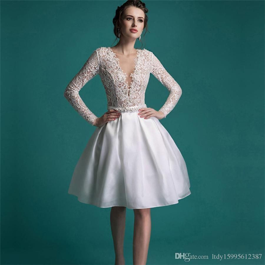 2019 Short Wedding Dresses with Long Sleeves - Women\'s Dresses for ...