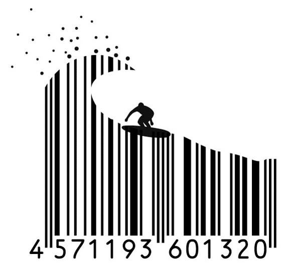 Imagen de un surfista en códigos de barras.