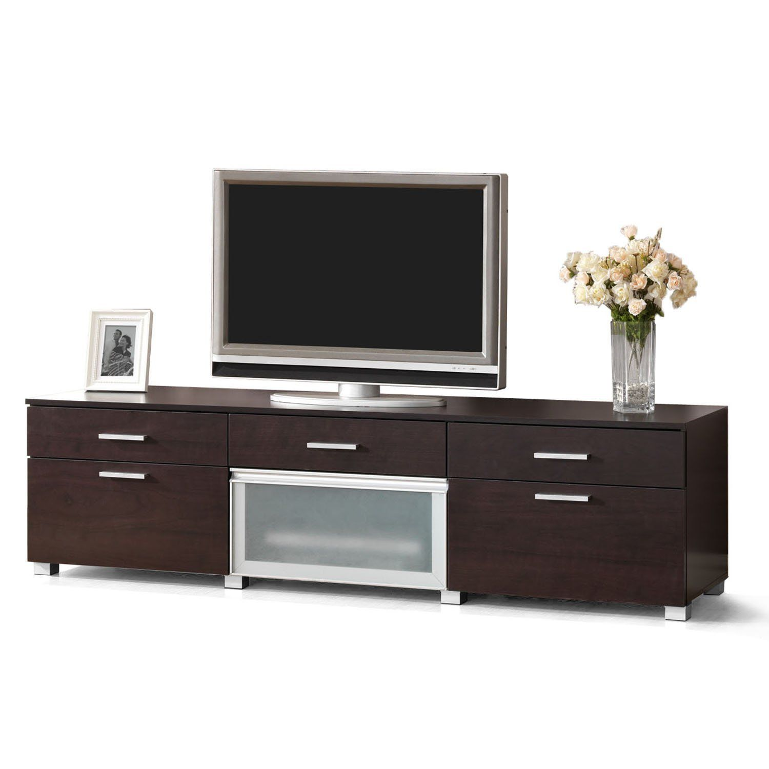 Amazon Com Baxton Studio Basilio Modern Tv Stand Dark Brown