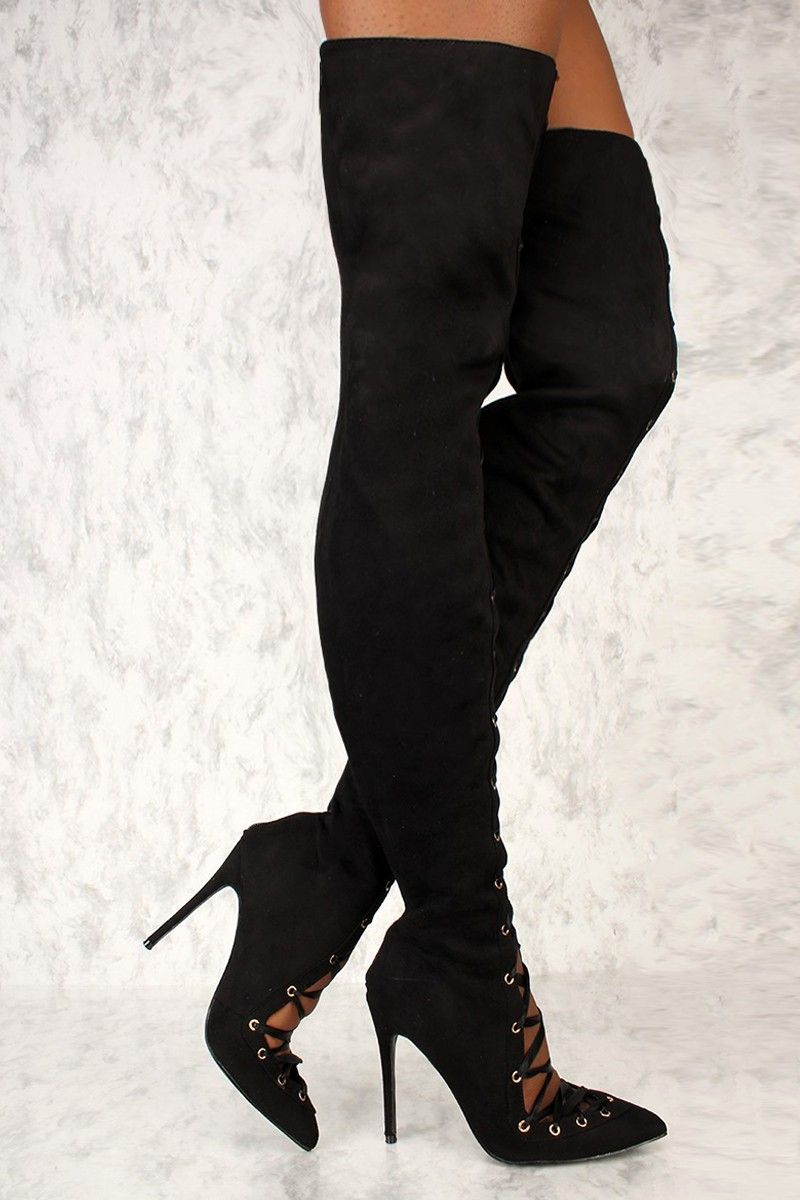 7e4f5cc079d Sexy Black Lace Up Pointy Toe Thigh High AMI Clubwear Boots Faux Suede ♥  BOOTS