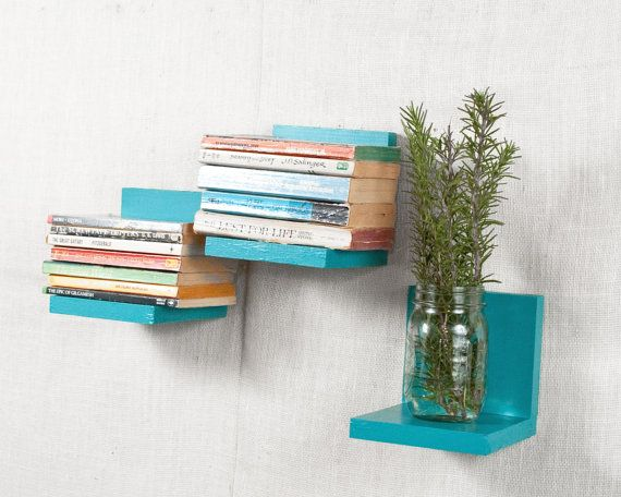 Floating Shelf   Sconce Shelf   Turquoise, Teal, Aqua   Wall Storage    Bookshelves