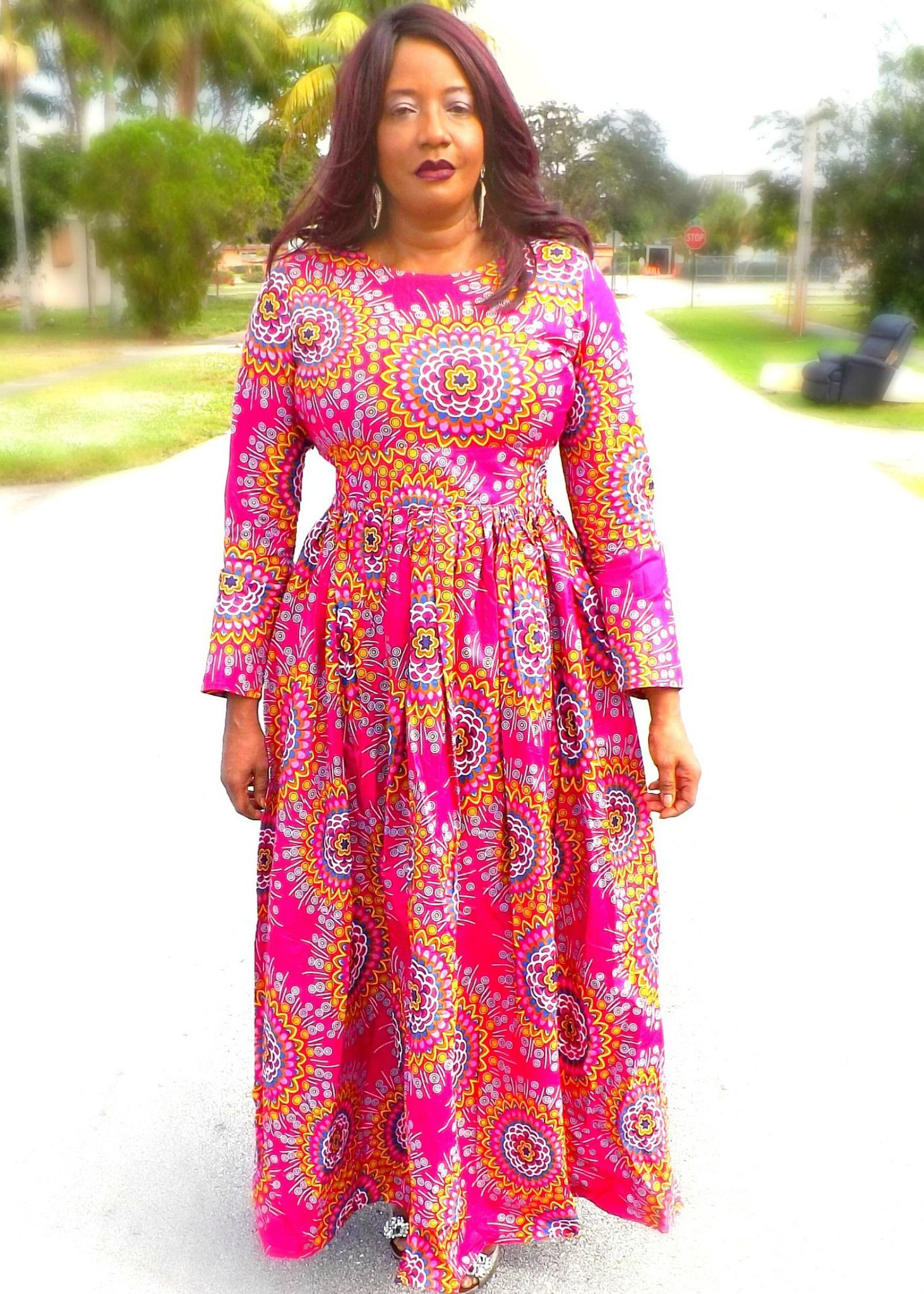 Aku african print long sleeve maxi dress in fashion