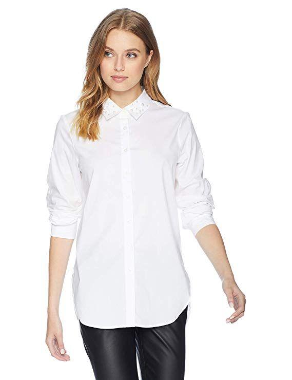 Poplin Roll With Collar In Pearl Calvin Sleeve Klein Women's 2019 QBWCrdoexE