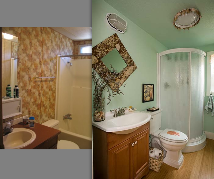 wow dont especially love this style but they did quite the makeovers - Mobile Home Bathroom Remodeling