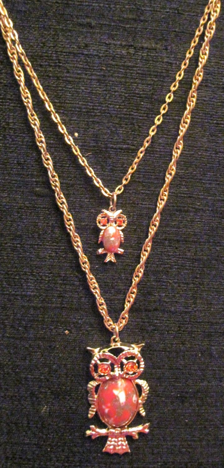 Double strand Owl Necklace --Costume Jewelry--Vintage by Riverripples on Etsy