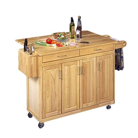 Country Cart in Natural - drop down breakfast bar