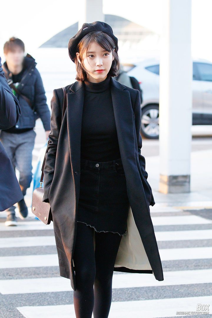 2555058a04010  iu  airportfashion Beret Outfit