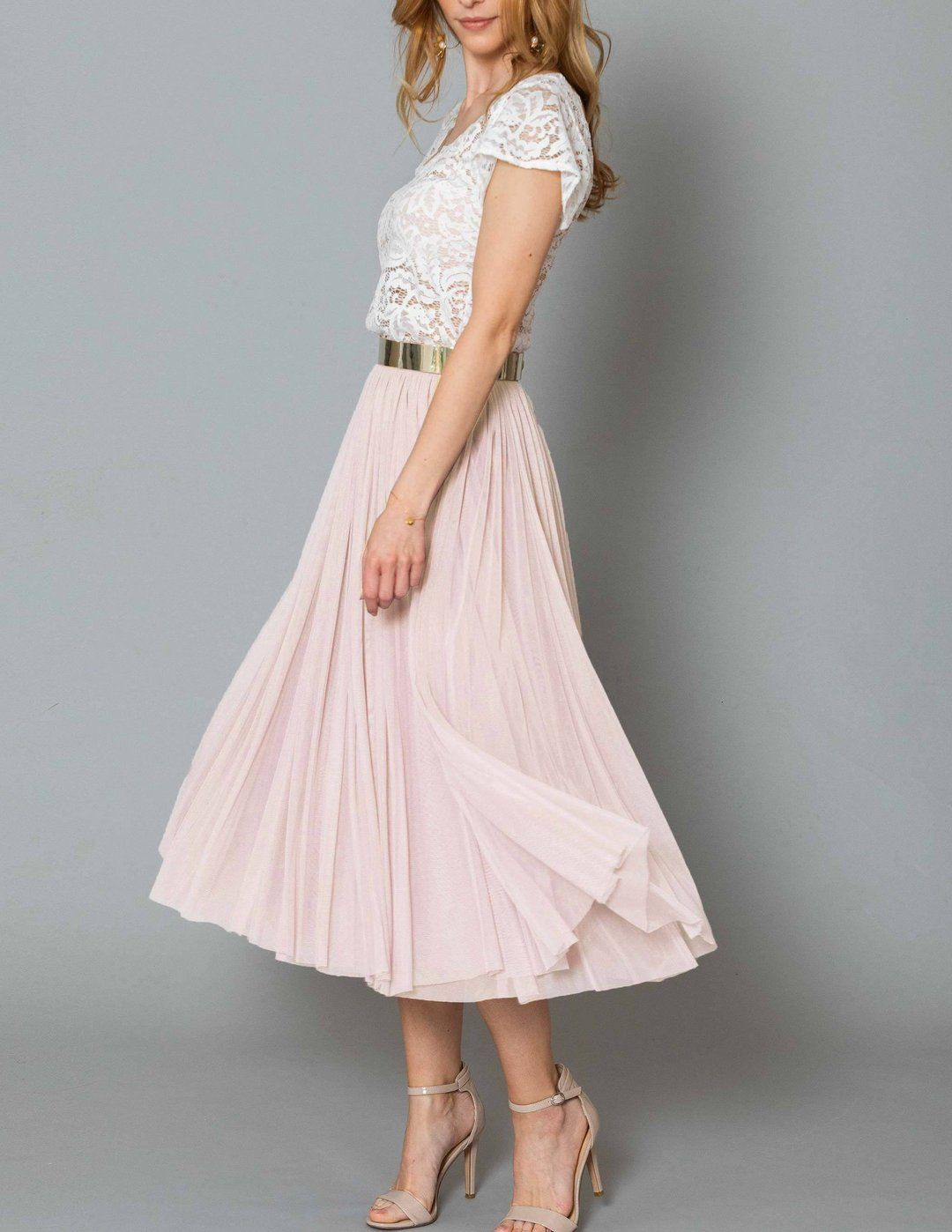 CONSTANT LOVE Tüll Rock Midi Soft-Rose