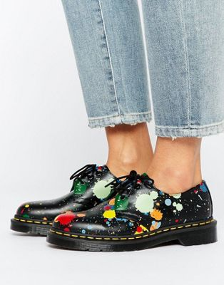 Dr Plates En Tache Cuir Lisse Martens Imprimé Chaussures De 1461 K1JFcl