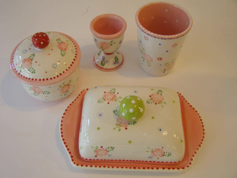 keramik set handbemalte keramik shabby chic keramik