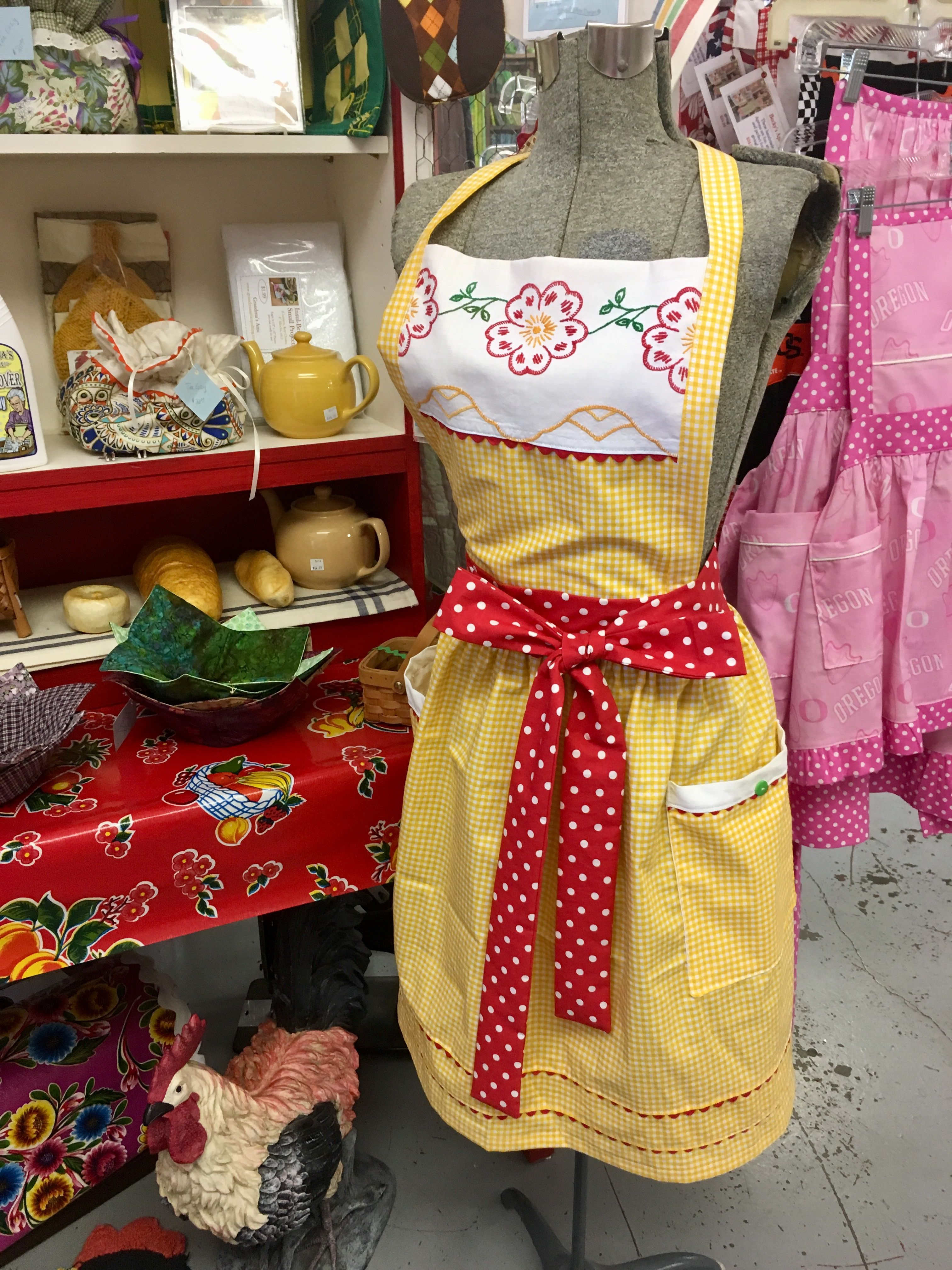 Retro Yellow and Red Kitchen Apron | Apron Love | Apron ...