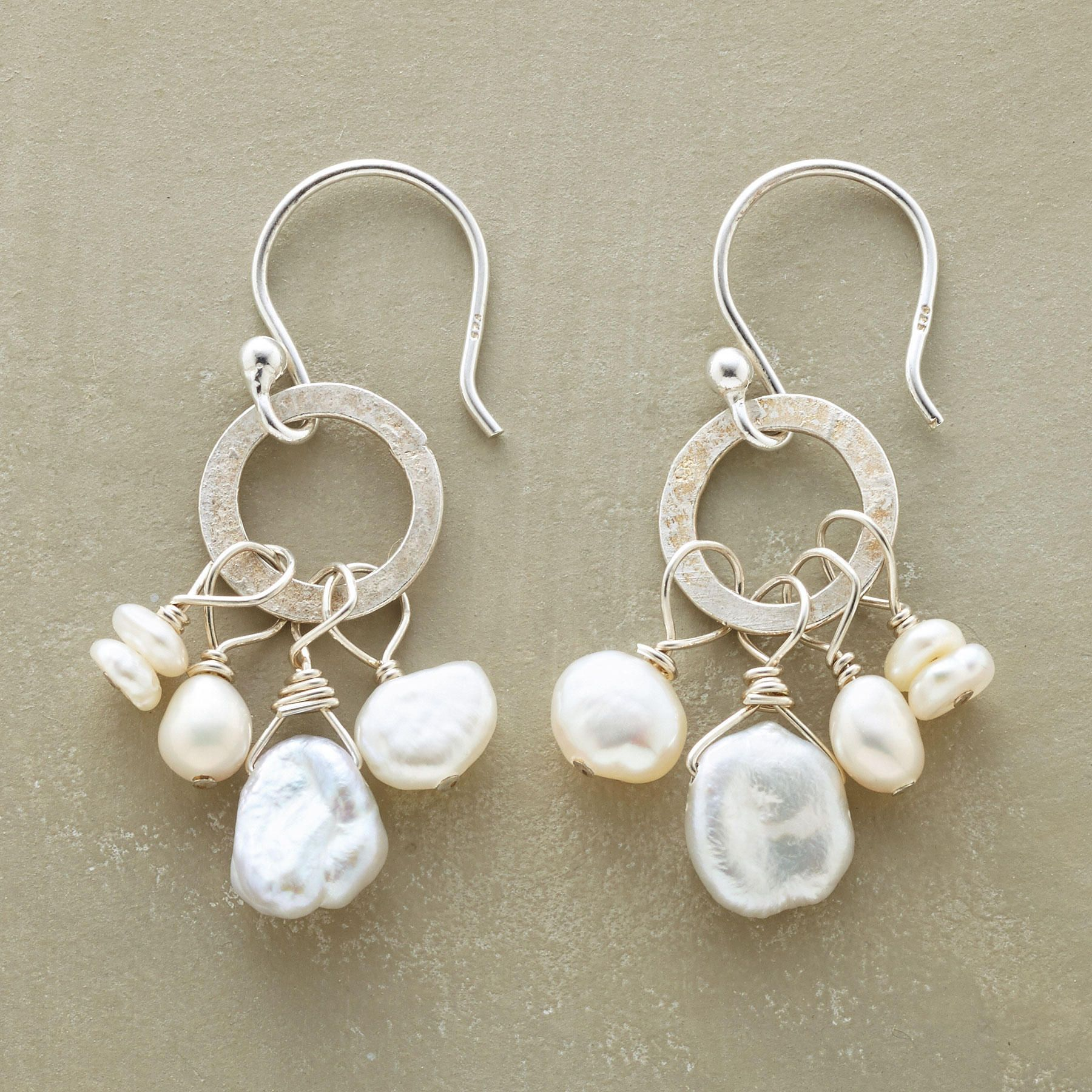 nouvelle pearl earrings -- pearls for the modern girl -- a cluster