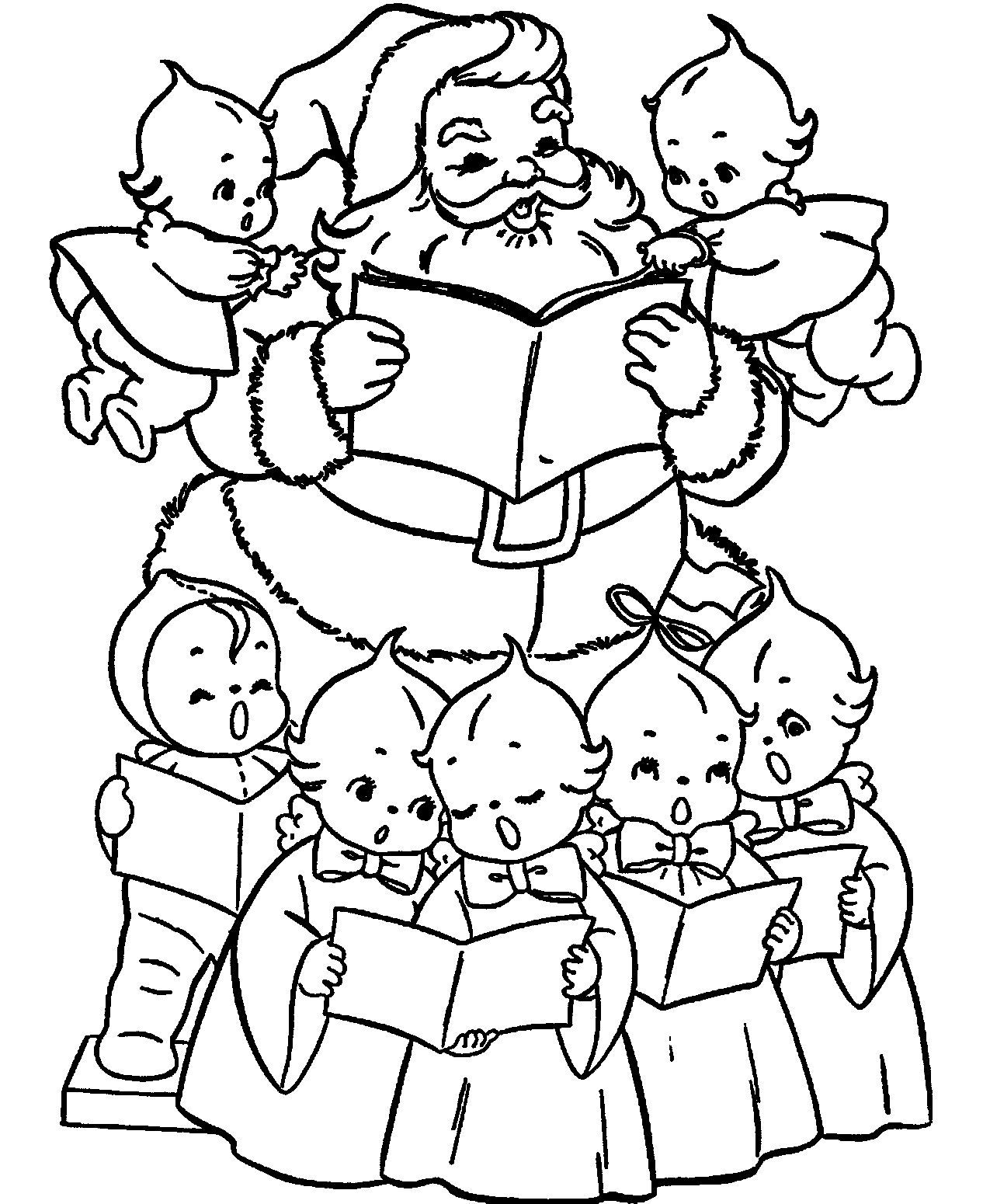 Christmas angel coloring pages and print santa and for Christmas carol coloring pages