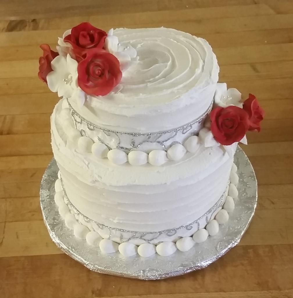 Mini wedding cake with red roses iowa cakes by courtney wedding