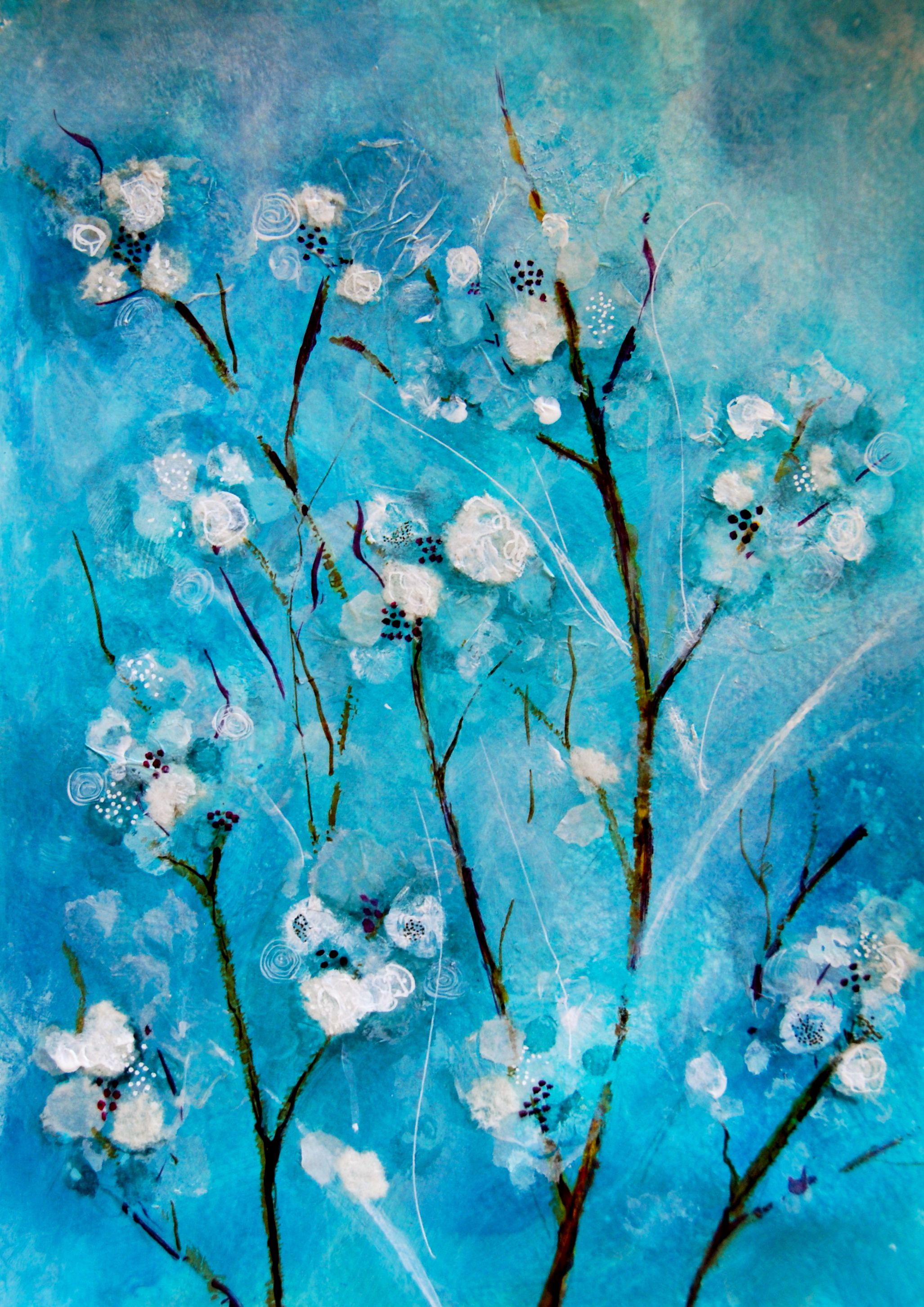 White Flowers On Changing Blue Background Painting Kids Canvas Painting Intuitive Painting