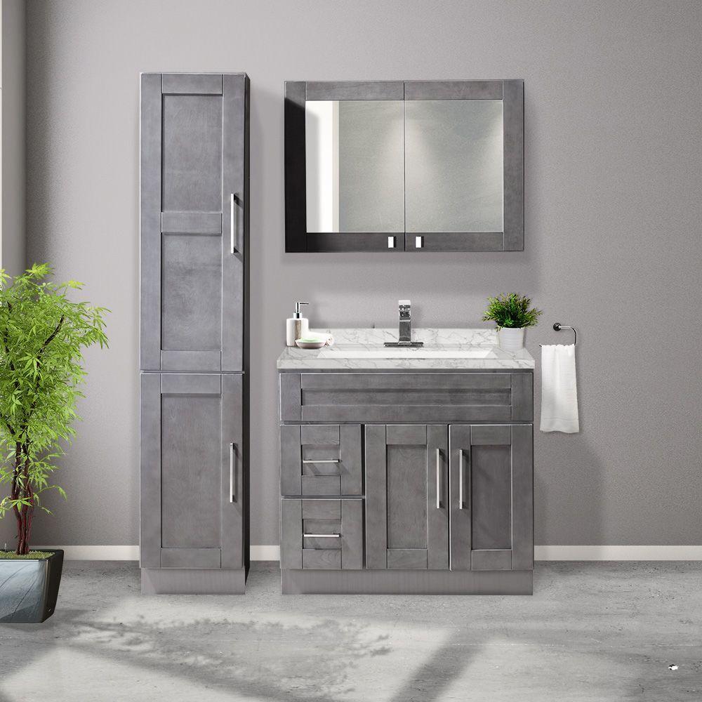Combo 36 Grey Vanity Set With Granite Top Linen And Medicine Cabinet Bain Dépôt Small Bathroom Vanities Grey Bathroom Vanity Gray Vanity