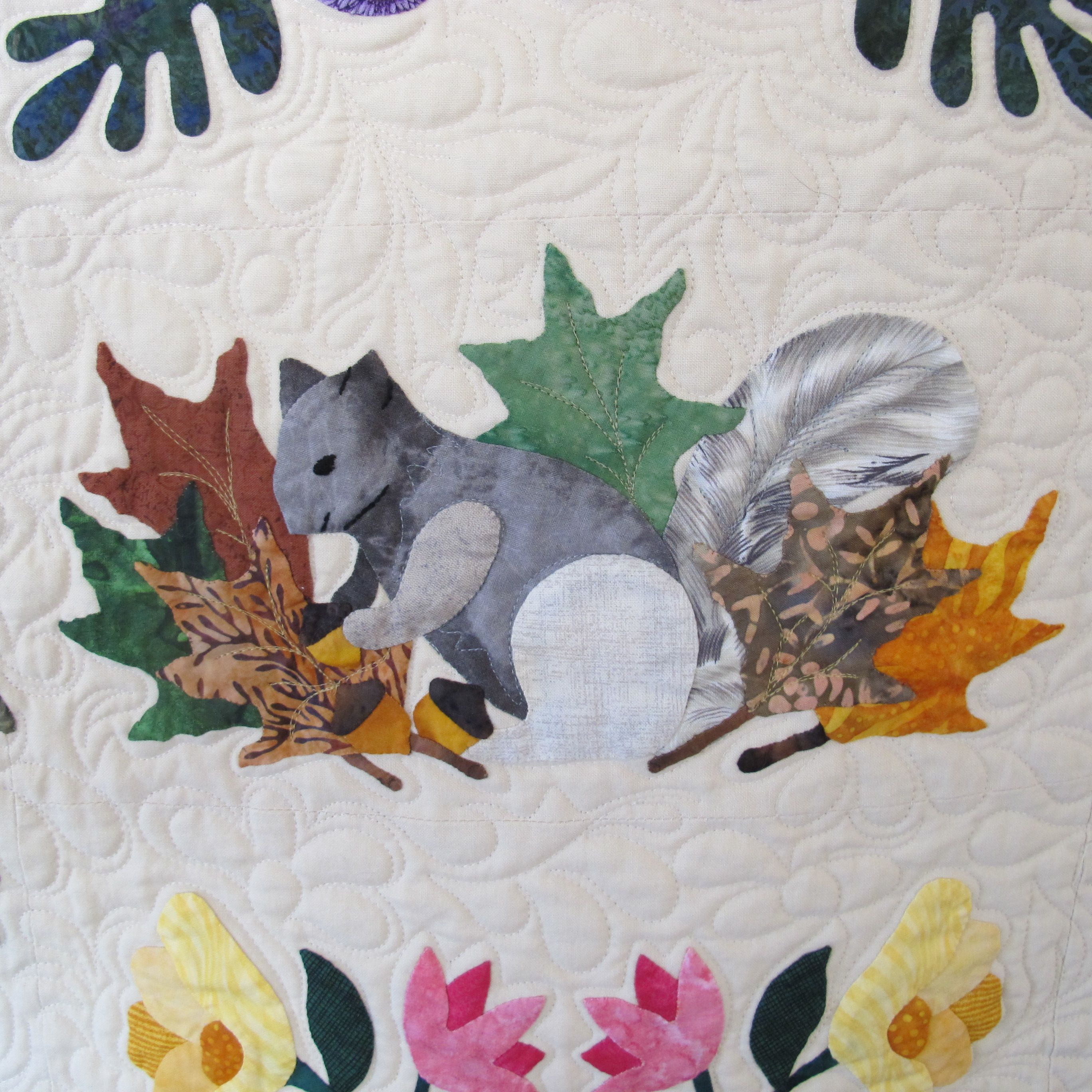 """Squirrel block of the quilt """"Heartland"""" by Janet Beyea"""