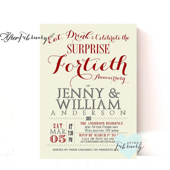 40th Anniversary Invitation - 40th Wedding Anniversary Invite ...