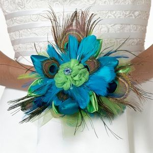 Peacock Flair Bouquet (Lillian Rose BQ234) | Buy at Wedding Favors Unlimited (http://www.weddingfavorsunlimited.com/peacock_flair_bouquet.html).