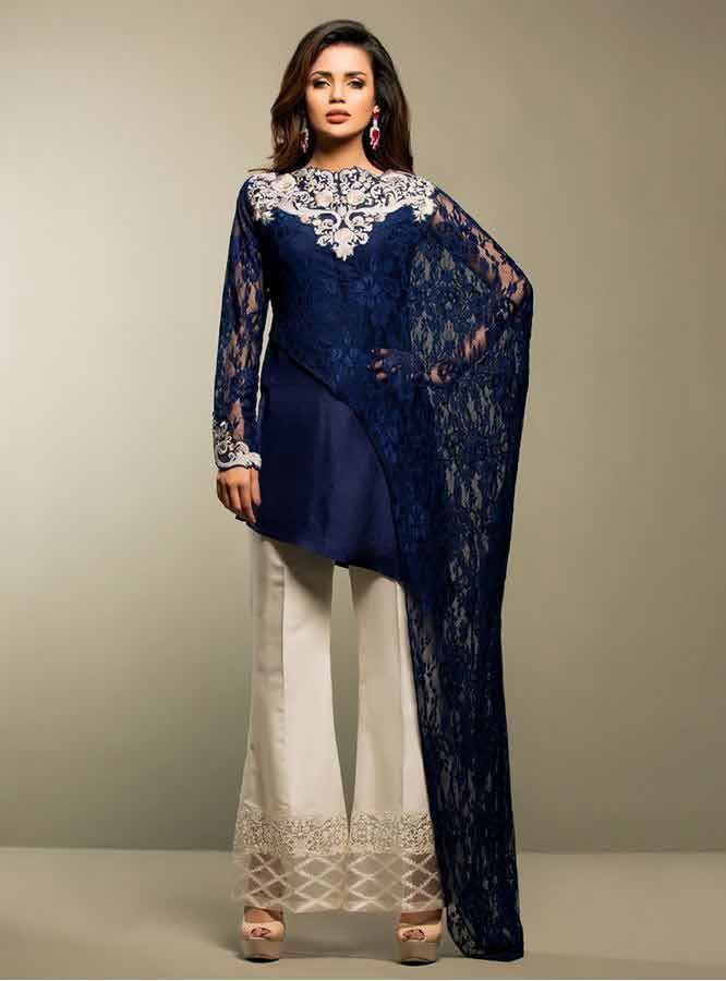 77c6547fee2dc0 ... Zainab chottani navy blue net lace short shirt with white embroidery on  neck and white trouser girls net dresses 2017 pakistani party dresses with  price