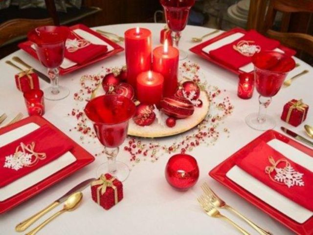 Decoration Table De Noel Rouge Et Or
