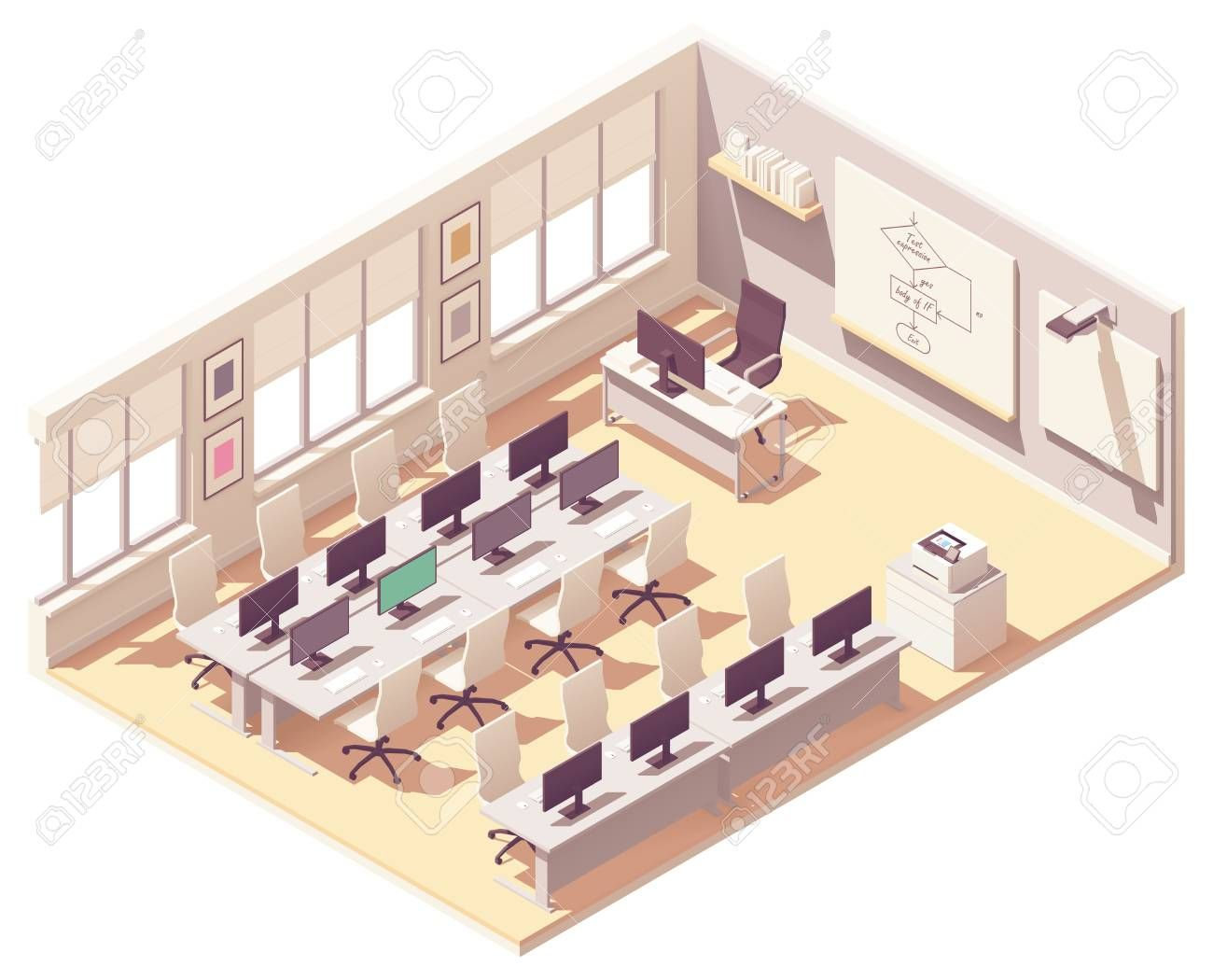 Vector isometric school computer lab or laboratory classroom interior cross-section. Desks with com