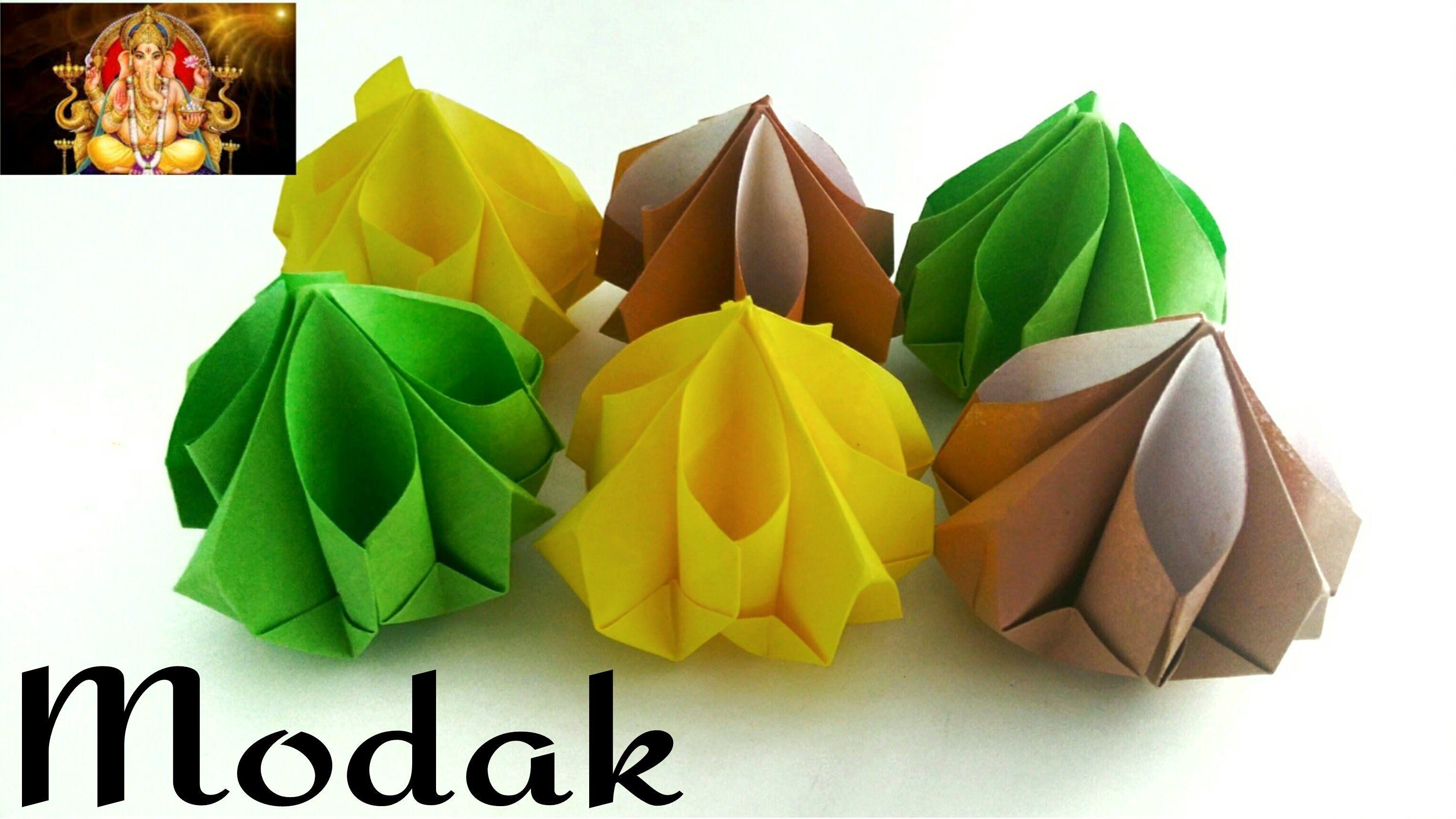 Origami Paper Modak Sweet Ganesh Chaturthi Festival Special