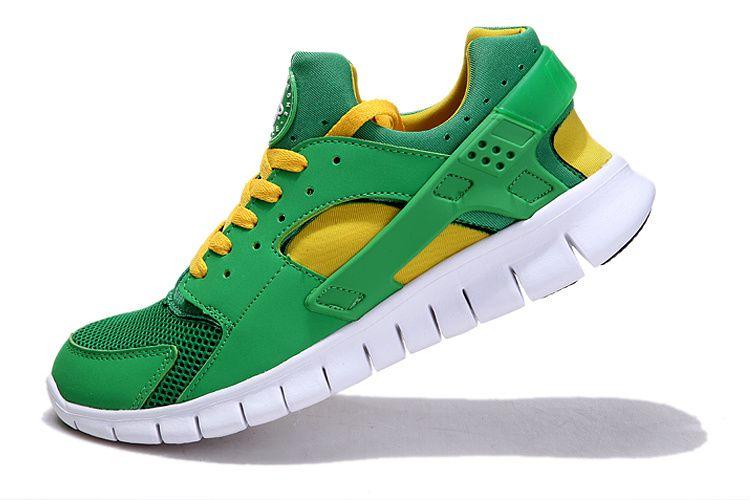 nike huarache green and yellow