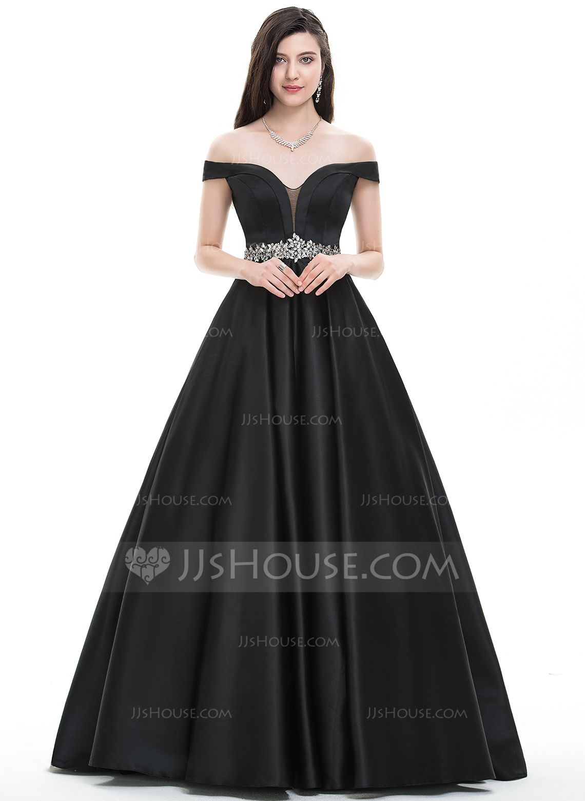 Ball-Gown Off-the-Shoulder Floor-Length Satin Prom Dresses With ...