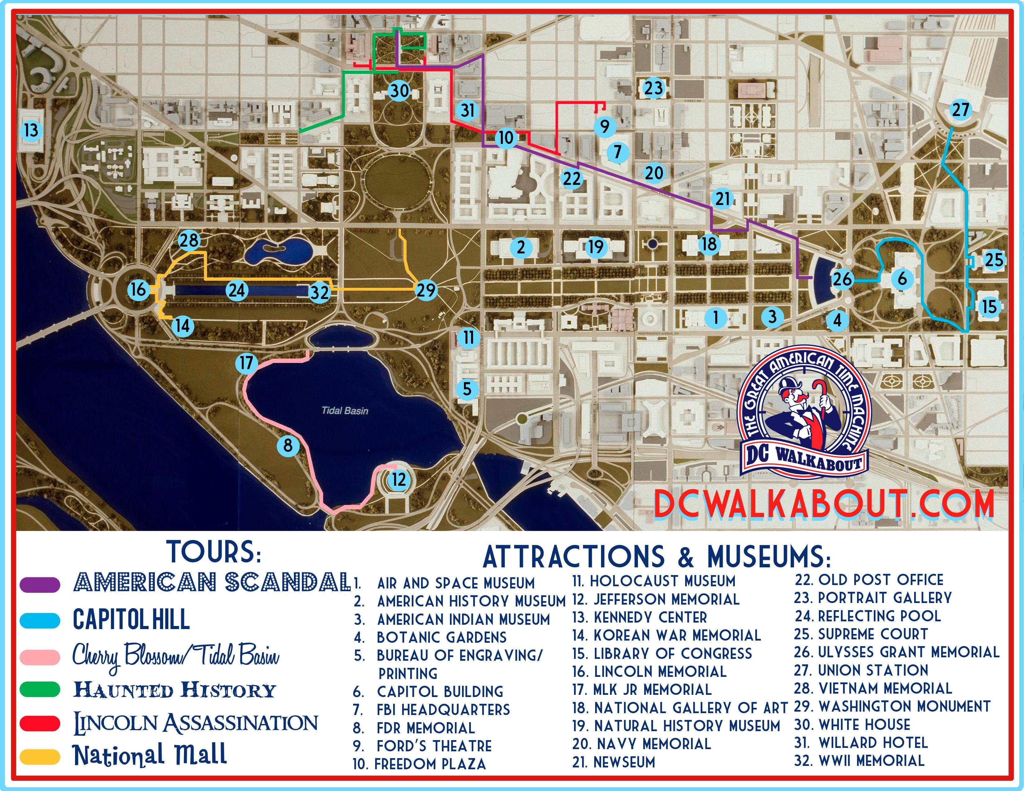 Washington D C Tourist Guide Map