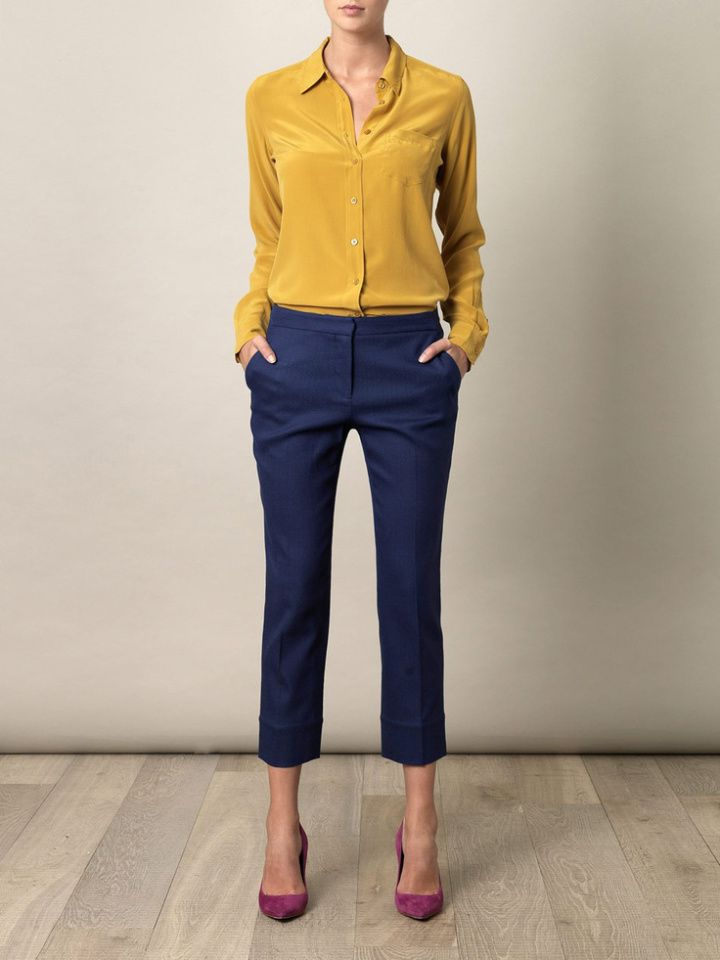 Shirt blue yellow pants with How to