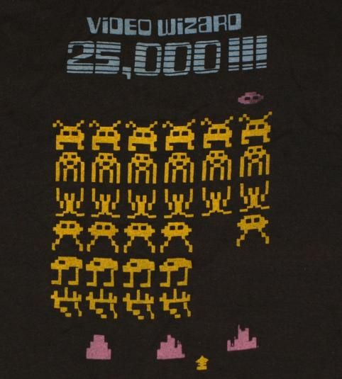 Vintage 1970's Video Wizard SPACE INVADERS T-shirt. Excellent condition. No rips, No stains.