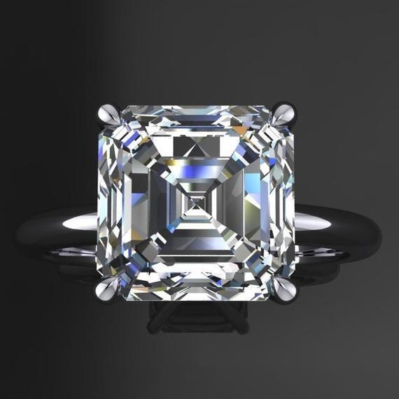 3 Carat Asscher Moissanite Engagement Ring