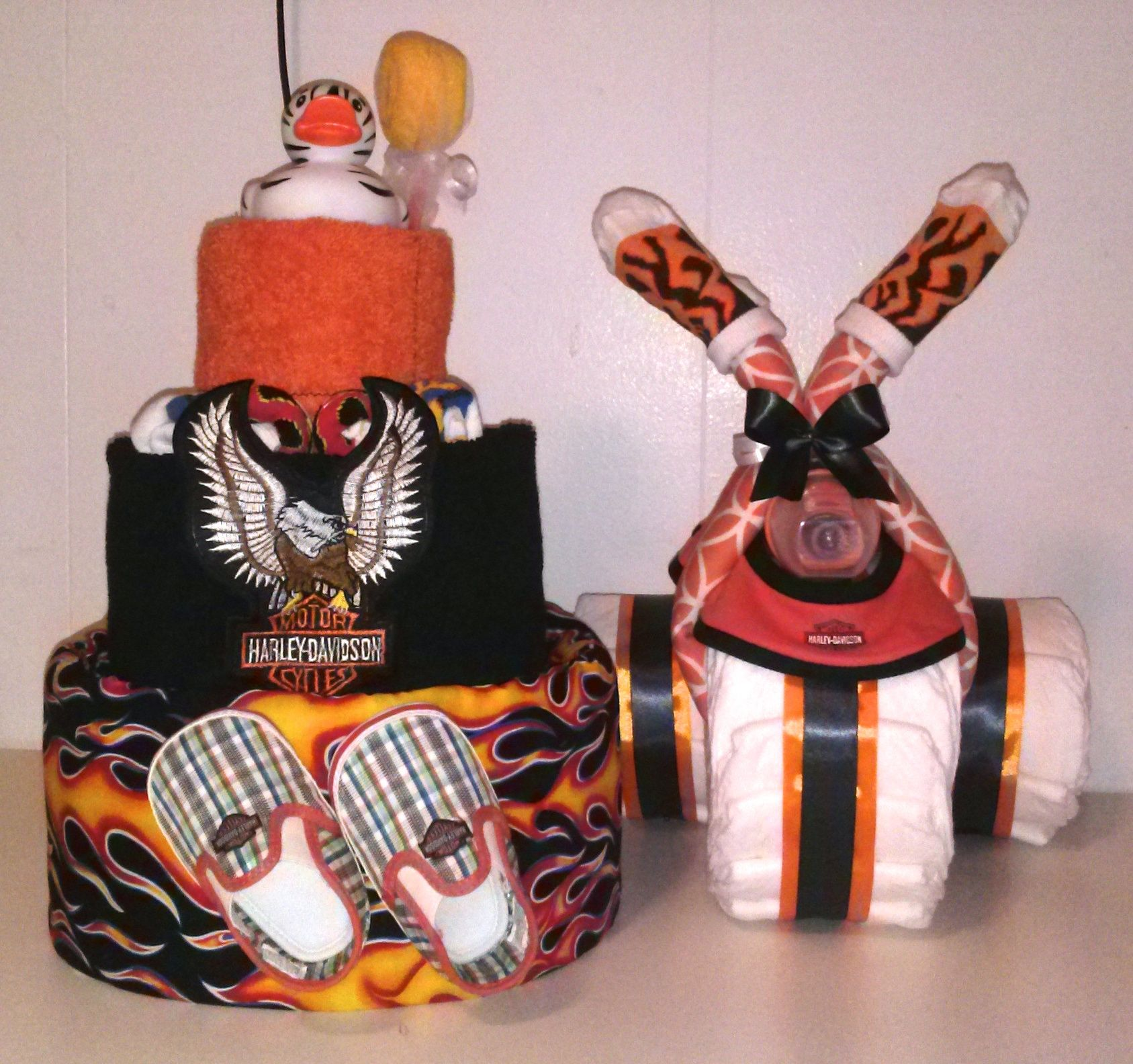 The Perfect Set For A Harley Davidson Baby Shower Decoration By