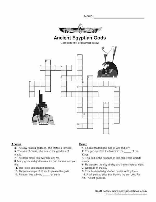 Free Printable Gods Of Egypt Crossword Ancient Egypt Teacher