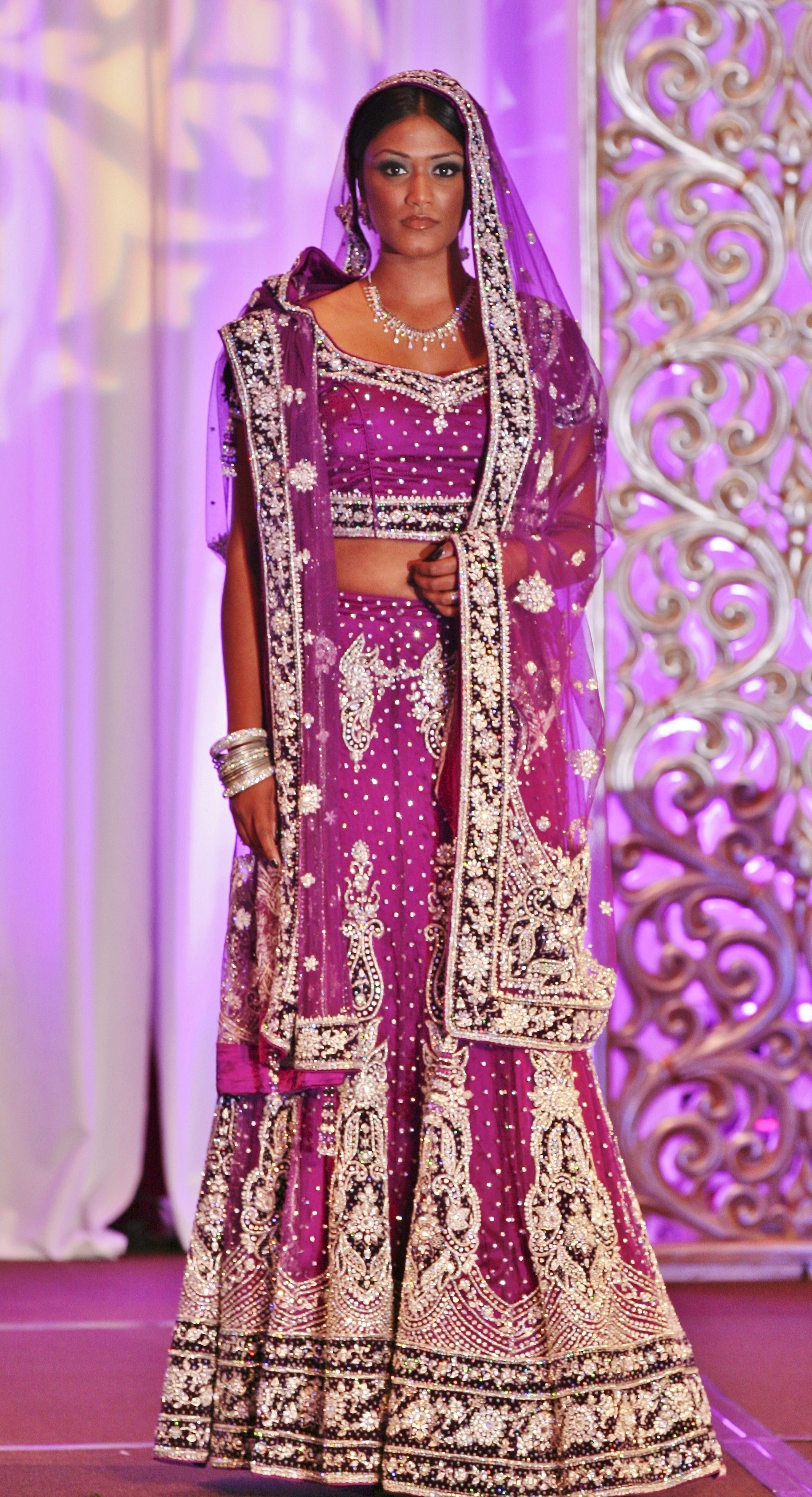Gotta love Dark Indian Women :) Purple Silver Lehenga   Flat Out ...