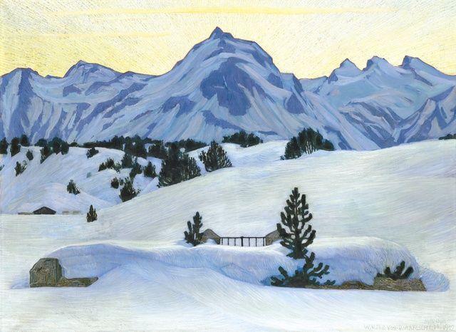1912 - W. v. Ruckteschell - Winterlandschaft bei Maloja