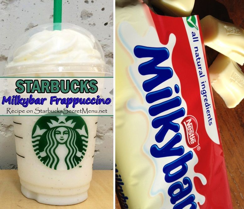 •Vanilla Bean Frappuccino •Add white mocha syrup (2 pumps tall, 3 grande, 4 venti) •Add extra ice (1.5 x original amount) •Extra pump of crème base and double blend •Top with one more pump of white mocha syrup