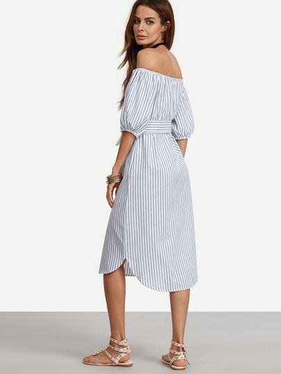 370f473cb48 Синее полосатое платье с вышивкой с открытыми плечами с поясом ...