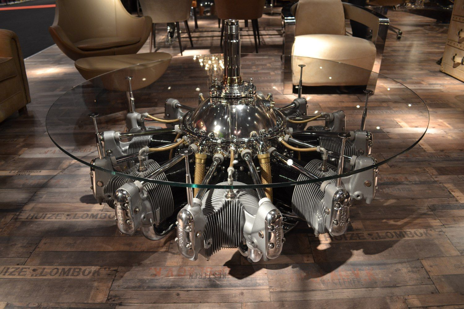 Jacobs radial engine coffee table - Table a caff fait avec moteur radial  Jacobs - Tavolo