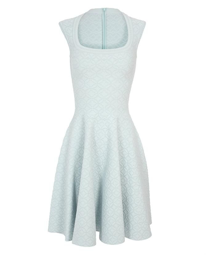 #AzzedineAlaia Blister knit dress with full skirt