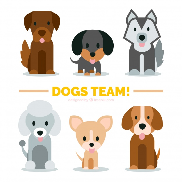 Download Variety Of Cute Puppies In Flat Design For Free In 2020 Dog Vector Character Design Puppies
