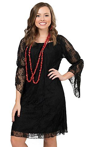 Rock 47 By Wrangler Women S Black Lace 3 4 Sleeve Dress Country Western Dresses Cowgirl Dresses Dresses